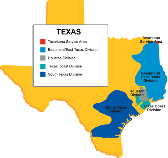 Texas Natural Gas Tariff Map