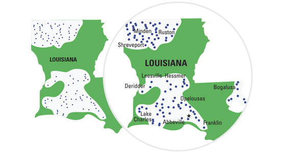 Communities served in Louisiana