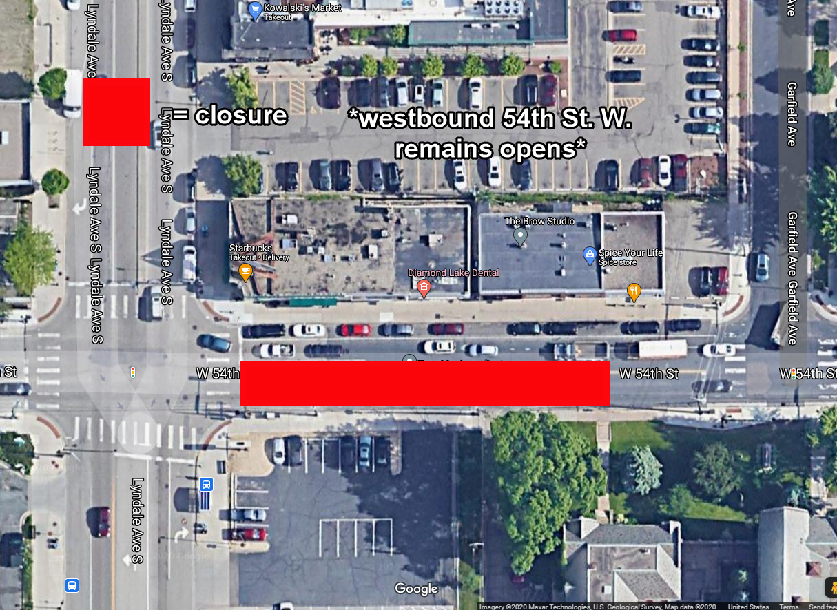 CNP Map of 54th St W Closure with WB Open.png